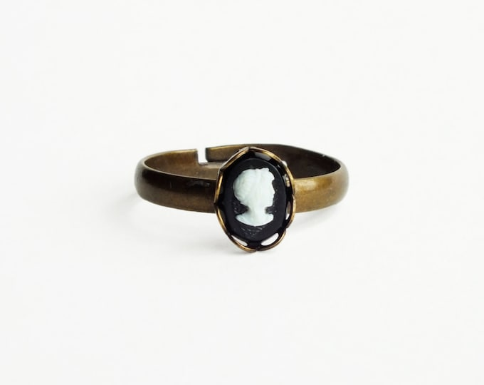 Tiny Black Cameo Ring Victorian Stacking Ring Small Adjustable Cameo Ring Tiny Stackable Ring Victorian Cameo Jewelry