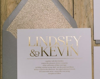 Foil  - Grey & Gold Glitter Wedding Invitation - SAMPLE (Blaire)