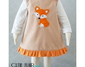 Girls Fox Dress, Fox A line Dress, Fox Outfit, Baby Fox Dress, Fall Baby Dress, Girls Thanksgiving Dress, 1st Birthday Fox Dress, Fox Jumper