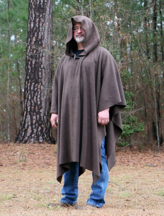 Dark Brown Hooded AntiPill Fleece Poncho with Vneck or Open Front Cape Jedi Obi-wan Star Wars