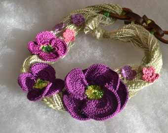 Purple poppy crochet necklace choker flower floral cotton freeform