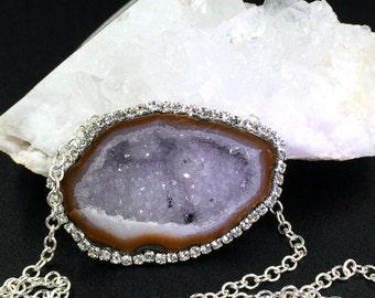 Tabasco Geode Necklace Druzy Gem Slice Swarovski Crystal Pave Diamond Look Lavender Druzy Crystals Statement Choker Crystal Necklace - Ceres