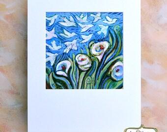 Lilies and Birds Matted Art Print, Blue decor, Matthew 6:28