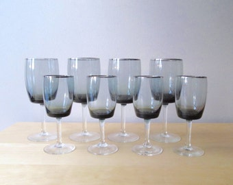 midnight mist gorham crystal smoke and silver rim wine glasses water goblets