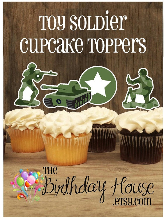 Army Party - Set of 12 Double Sided Assorted Toy Soldier Cupcake Toppers by The Birthday House