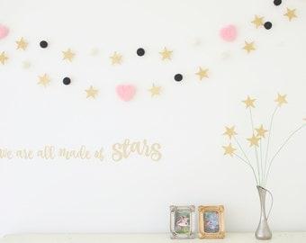 Gold Star Garland, Golden Constellation Nursery Bunting Banner, Needle Felted Heart Garland, Pink, White, Black, Baby Shower Gift