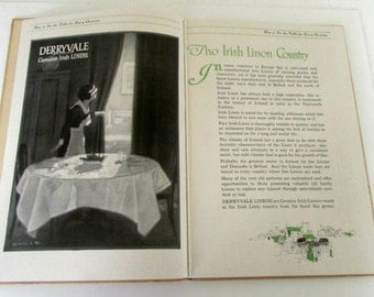 Vintage Hostess Book Etiquette How to set the Table for Every Occasion Derryvale Genuine Irish Linens Brides Hostess Book 1918 Art Deco