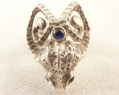 SALE --- Artist Made Size 4 Vintage Sterling Ram Skull Ring with Blue Topaz Accent Stone