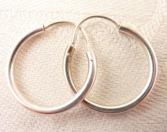 Vintage Simple Sterling Tube Medium Hoop Earrings