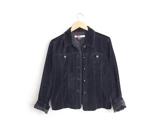Size S/M/L // VELVETEEN OVER-SHIRT // Black - Oversized - Minimalist - Grunge - Vintage '90s.