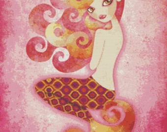 Cross stitch modern art by Sandra Vargas 'Coraleen' - Mermaid cross stitch kit