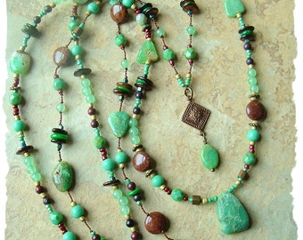 Bohemian Jewelry, Rustic Layered Necklace, Hand Knotted, Mint Chocolate, Hippie Gypsy, BohoStyleMe, Kaye Kraus