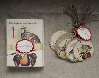12 Days of Christmas Mantel Card and set of 12 matching paper gift tags holiday hostess gift victorian vintage style etching under 30