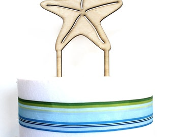 Starfish Cake Topper, Starfish laser cut, wood cake topper, wedding cake topper, bridal shower, baby shower