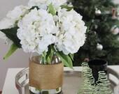 MelroseFields- White Hydrangeas in a Glass Milk Jug Vase