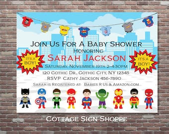 Superhero Baby Shower, Superhero Baby Shower Invitation, Boy Baby Shower Invitations, DIY PRINTABLE, YOU Print, It's A Boy Baby Shower