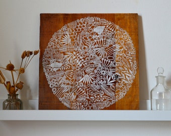 Reclaimed Wood-Hand Stamped Circle onto Reclaimed Wood-upcycle wall art, repurposed wood