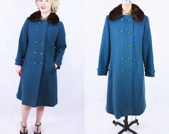 1960s teal coat   Bromleigh teal wool fur collar coat   vintage 60s coat