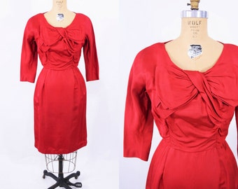 """1950s dress vintage 50s red silk bow formal cocktail party dress S W 26"""""""
