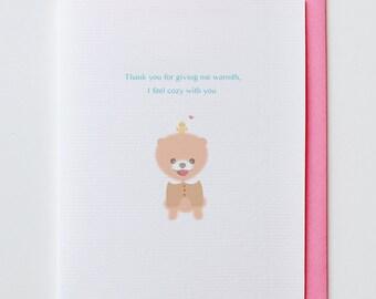 Cozy Shiba Thank You Card - Funny, Unique, Cute, Kawaii, Boo, Chiwawa, Dog, Animal Card, Friendship, Love