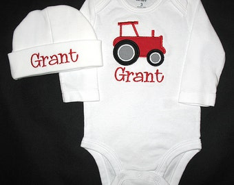 Custom Personalized Applique TRACTOR and NAME Bodysuit and Hat Set - Red, Black, and Gray