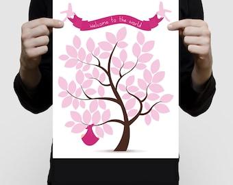 "printed signature baby shower guest book tree 11x14"" print - nursery art baby girl pink or custom personalised"