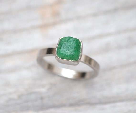 Raw Emerald Engagement Ring Set In 18ct White Gold, May Birthstone Ring, Made To Order