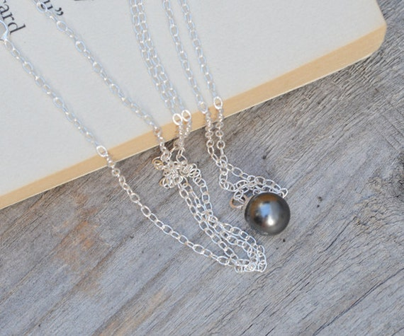 dark grey pearl necklace in sterling silver, handmade in England