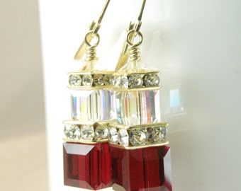 Red Garnet Crystal Earrings, Swarovski Cube, Gold Filled, Drop Dangle January Birthday Gift, Bridesmaid Wedding Jewelry Handmade