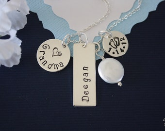 Grandma Necklace Personalize,  Mom Necklace, Sterling Silver name Charms, Mother, Nana, Gigi, GG, Gma, Baby, Date, New