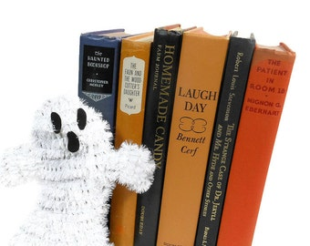 Vintage HALLOWEEN Book Stack | Black Orange | Hardcover Books | Dr Jekyll Hyde | Spooky Book | Holiday Decor | Home Staging | Candy Cookbook