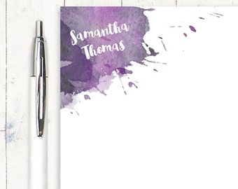 personalized notePAD - WATERCOLOR SPLOTCHES - stationery - stationary - artsy notepad - letter writing paper