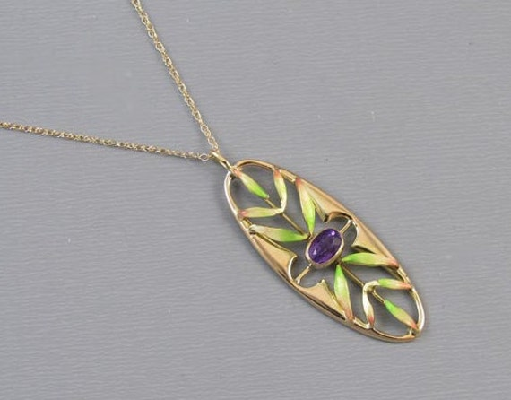 Antique Edwardian 14k gold enamel purple amethyst pendant necklace