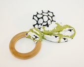 Organic Wood Ring Teether - Sheep in the Green Meadow - Natural Wooden Ring - Wood Toy - Ready to Ship