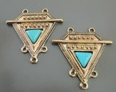 Turquoise Antique Gold Earring Chandilier Findings - Gold Tribal Findings - DIY Ethnic Earring Pendant - Jewelry Supply Earring Components