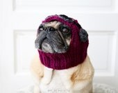 READY to SHIP - Wild Berry Aviator Dog Hat - Size MEDIUM - Limited Edition - Pug Hat - Pug Clothing - Dog Clothing