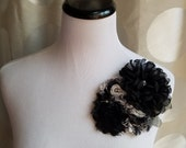 30% off sale, black and cream flower, vintage flower, Headband, Bridal Crown, Wedding Headpiece, Dress Pin,  Fascinator, champagne flower