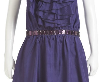 100% Silk Dress Ruffle Front - Purple