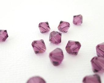 Amethyst Beads 6 mm Swarovski Crystal Bead 6 mm purple bicone diamond shaped bead