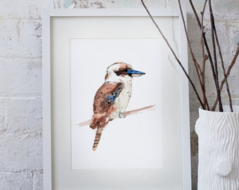Australian Kookaburra watercolour art print A3 and A2
