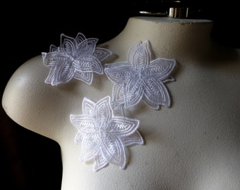 3 WHITE Flower Appliques Double Layered Organza for Lyrical Dance, Costumes, Headbands, Garments IRON 34white
