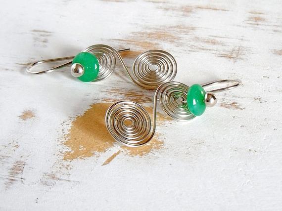 Silver Earrings with Green Agate, Statement Earrings, Spiral Jewellery, Quirky Jewellery, Unusual Earrings