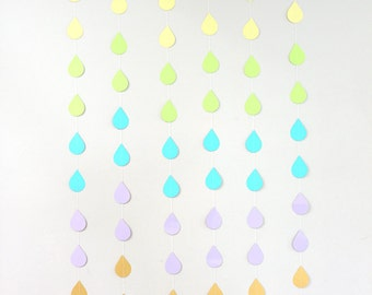 Rainbow Raindrops Paper Garland - Set of 6 or By the Strand - April Showers, Baby Showers, party decorations