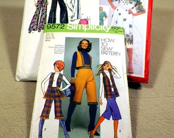 Vintage 1970s Simplicity Ladies Clothing Patterns, Lot of 3 Pkgs, Uncut for Hippy Girl Bo Ho Great Vintage Styles