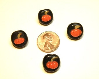 DESTASH -- Four (4) Black Coin Beads with Orange Pumpkin Lampwork Glass Beads