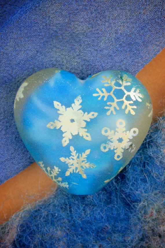 "SRA Lampwork Beads ""Heart of Ice"" Handmade Sandblasted Glass Bead Fine Silver Lustre"
