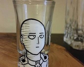 One Punch Man - Saitama OK- Single Hand Painted Shot Glass.