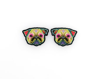 Day of the Dead Pug in Fawn Sugar Skull Dog Earrings