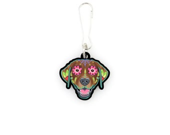 SALE Regularly 7.95 - Labrador in Chocolate - Collar Charm / Key Chain / Zipper Pull - Day of the Dead Sugar Skull Dog