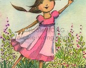 RESERVED for colrol -- Original ACEO Watercolor Painting and Ink Drawing -- Garden Princess